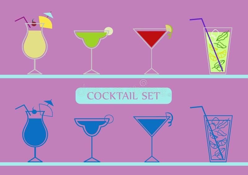 Les icônes ont placé avec les cocktails de pinacolada, de margarita, cosmopolites et de mojito illustration stock