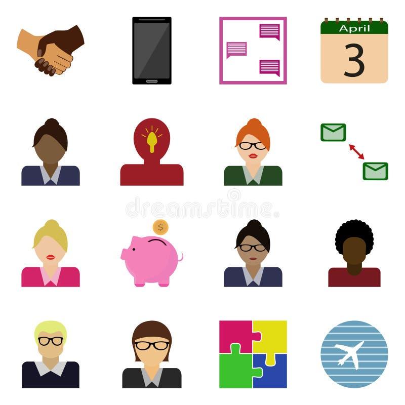 Les icônes ont placé des affaires Bouton de vecteur illustration libre de droits