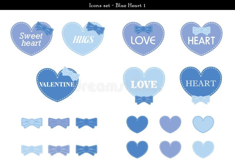 Les icônes ont placé des coeurs avec le thème bleu de couleur - 1 illustration de vecteur