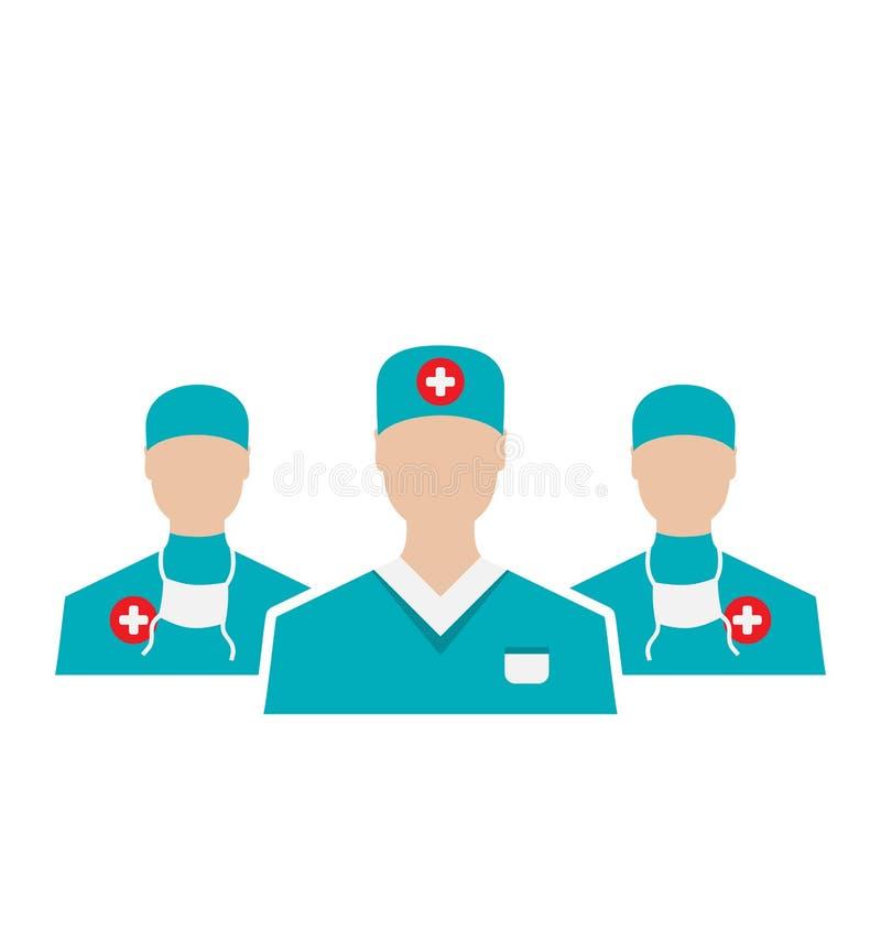 Les icônes ont placé des employés médicaux dans le style plat moderne de conception, isolant illustration libre de droits