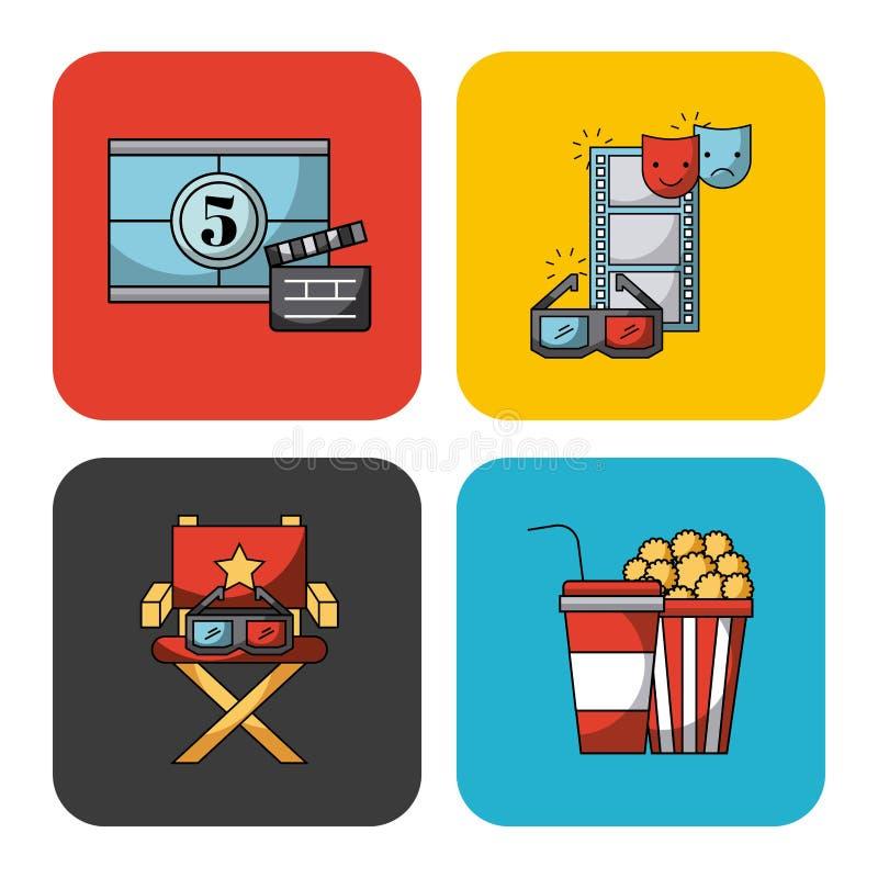 Les icônes ont placé des films illustration stock