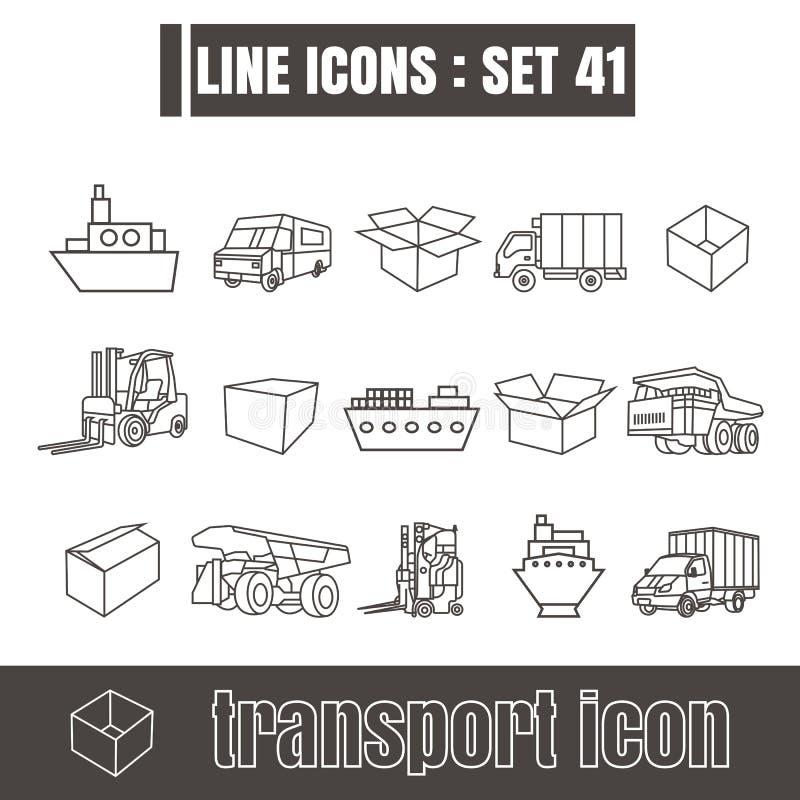 Les icônes ont placé la ligne de transport éléments modernes Geom de conception de style de noir illustration stock