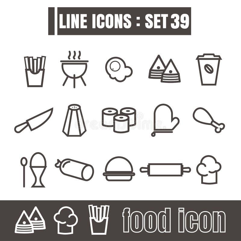 Les icônes ont placé la ligne la géométrie moderne de nourriture d'éléments de conception de style de noir illustration de vecteur