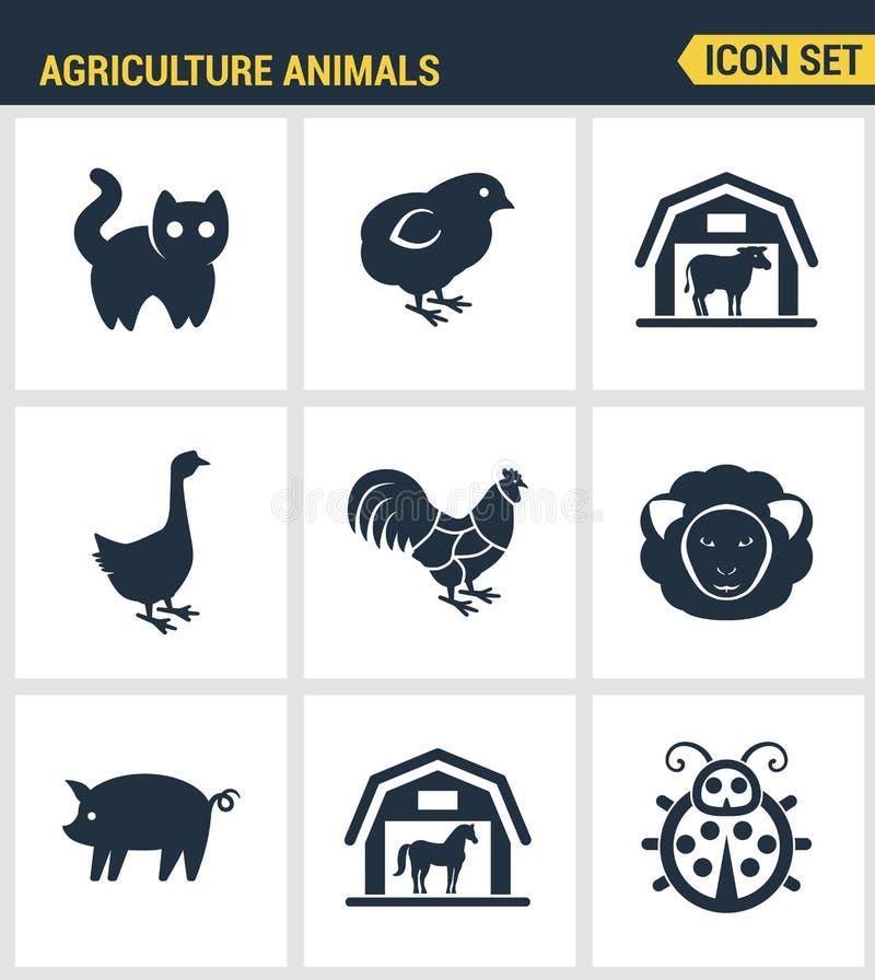 Les icônes ont placé la qualité de la meilleure qualité de l'ensemble d'icône de ferme d'animal de ferme de grange d'animaux d'ag illustration stock