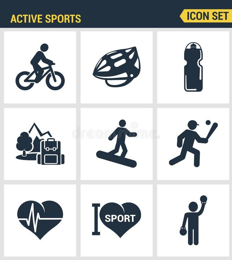 Les icônes ont placé la qualité de la meilleure qualité de l'icône active de vecteur de sportif d'amour de sports Style plat de c illustration de vecteur