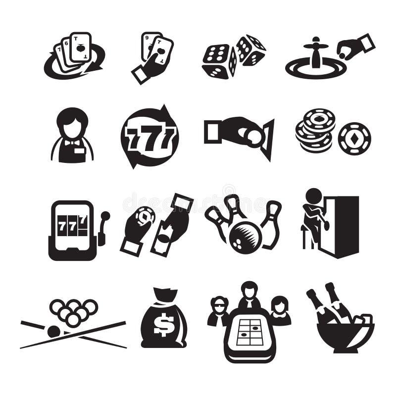 Les icônes ont placé le casino illustration stock