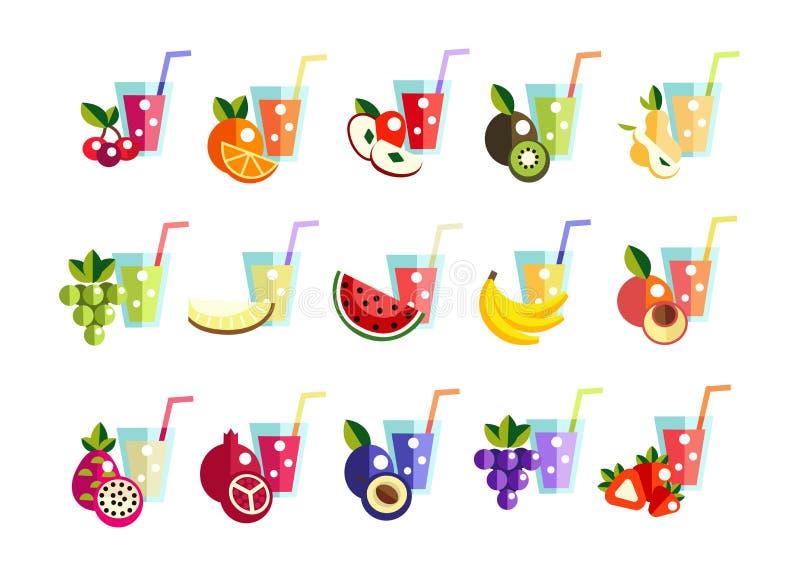 Les icônes ont placé le jus frais, macédoine de fruits illustration libre de droits