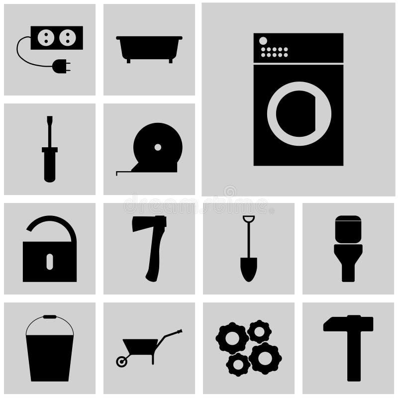Les icônes ont placé le lavage plat d'icône des icônes repeir/des icônes repeir/de vecteur de repeir/, machine, illustration libre de droits
