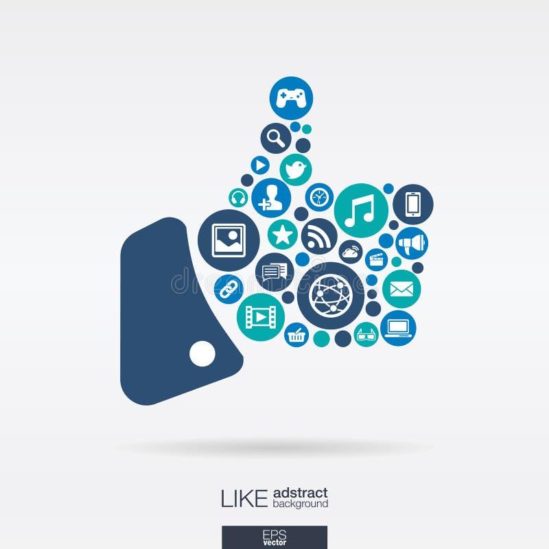 Les icônes plates dans a aiment la forme, technologie, media social, réseau, concept d'ordinateur illustration de vecteur