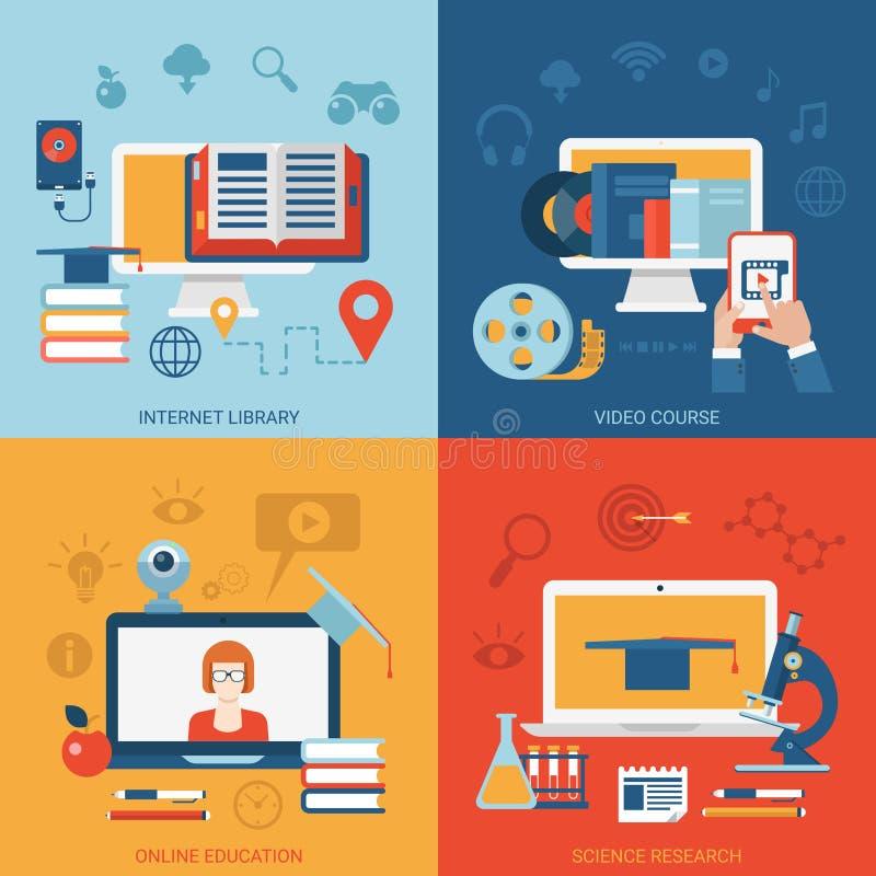 Les icônes plates de concept en ligne d'éducation ont placé la connaissance d'apprentissage en ligne illustration stock