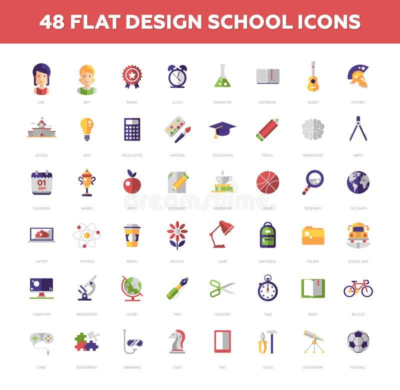 Les icônes plates de conception d'école et d'éducation entourent la composition illustration stock