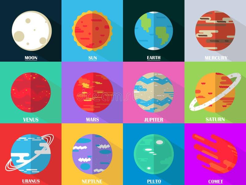 Les icônes plates de conception ont placé - des planètes avec des noms illustration libre de droits