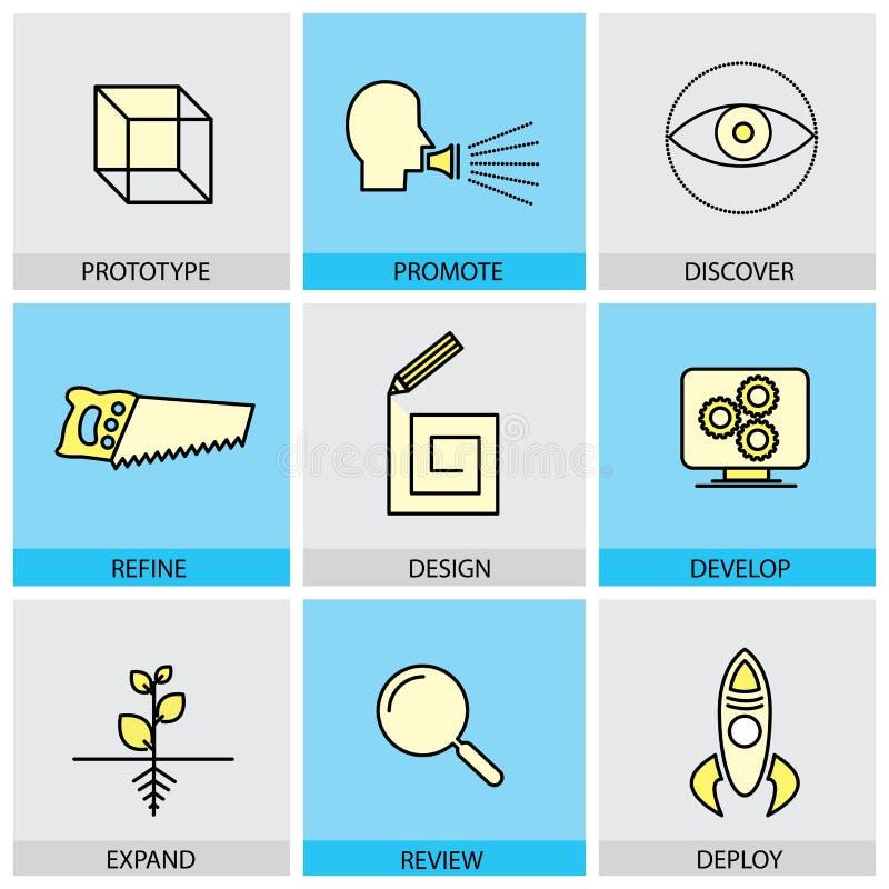 Les icônes plates de conception réglées de la ligne prototype de vecteur promeuvent l'idée illustration libre de droits