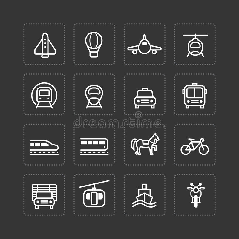 Les icônes plates de vecteur ont placé le concept d'ensemble de transport illustration de vecteur
