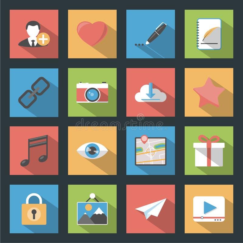 Les icônes plates de Web de media de Socia ont placé avec le longshadow illustration libre de droits
