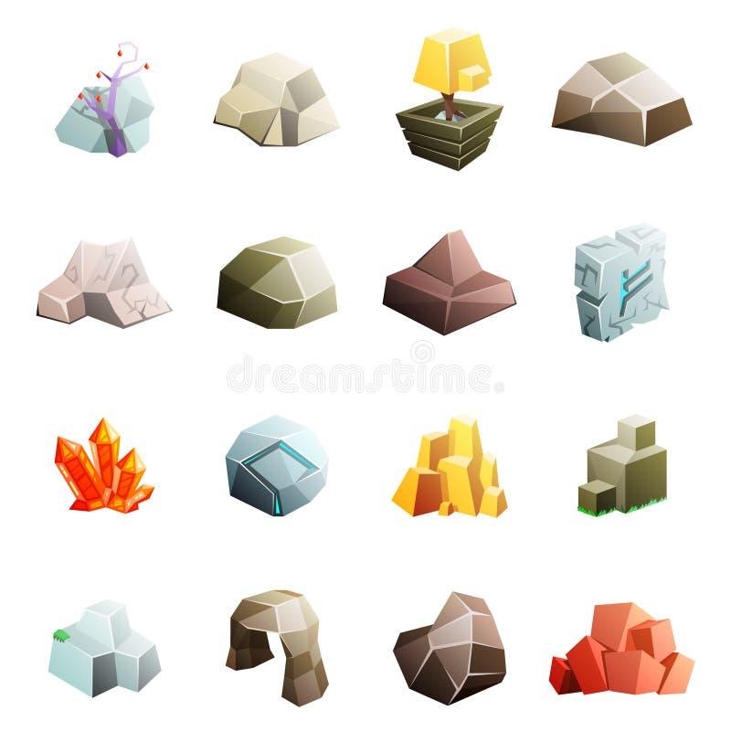 Les icônes plates isométriques du style 3d de basse poly de roche d'environnement d'art de jeu de pierre de rocher de caverne ban illustration libre de droits
