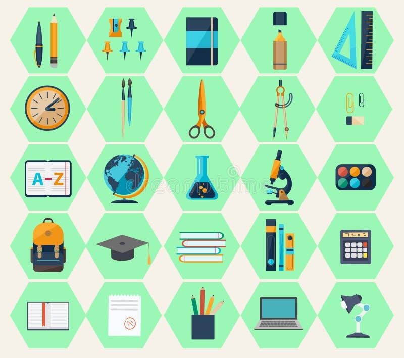 Les icônes plates modernes du web design objecte, des affaires, articles de bureau illustration stock