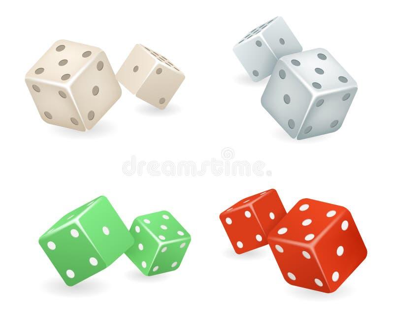 Les icônes réalistes de jeu des matrices 3d ont placé l'illustration de vecteur illustration de vecteur