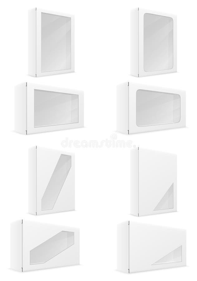 Les icônes réglées d'emballage de boîte de carton de livre blanc dirigent l'illustration illustration de vecteur