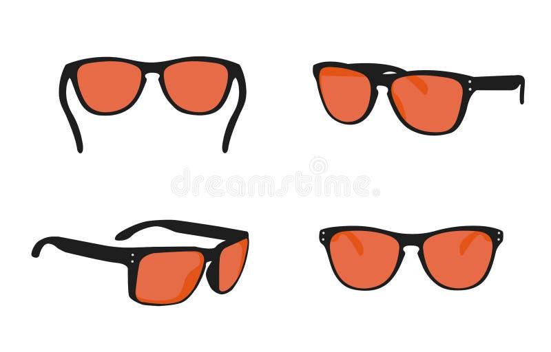 Les ic?nes r?alistes de lunettes de soleil du soleil d'?t? ont plac? l'illustration d'isolement de vecteur illustration de vecteur