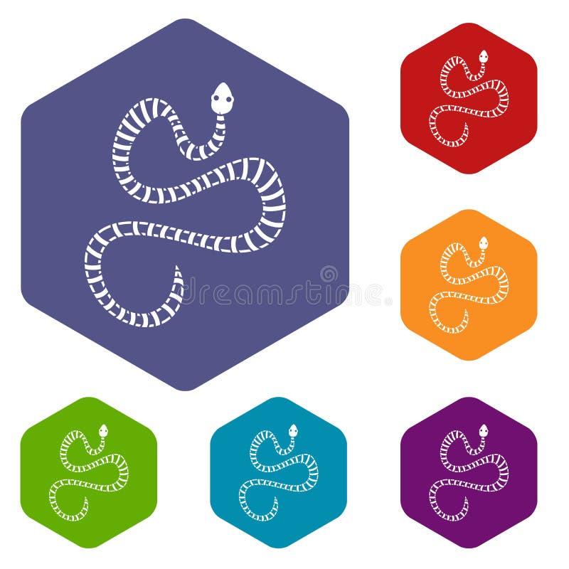 Les icônes rayées blanches de serpent ont placé l'hexagone illustration stock