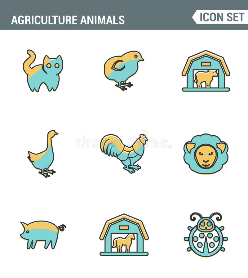 Les icônes rayent la qualité de la meilleure qualité réglée de l'icône de ferme d'animal de ferme de grange d'animaux d'agricultu illustration stock