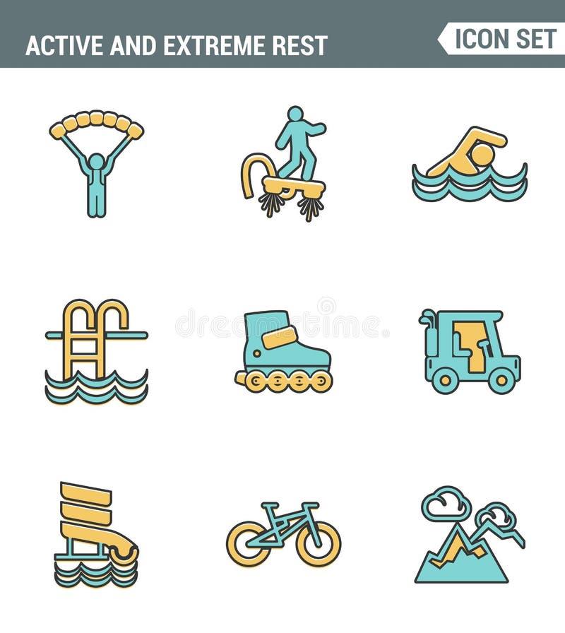 Les icônes rayent la qualité de la meilleure qualité réglée du style de vie actif et extrême de passe-temps de sports de week-end illustration libre de droits