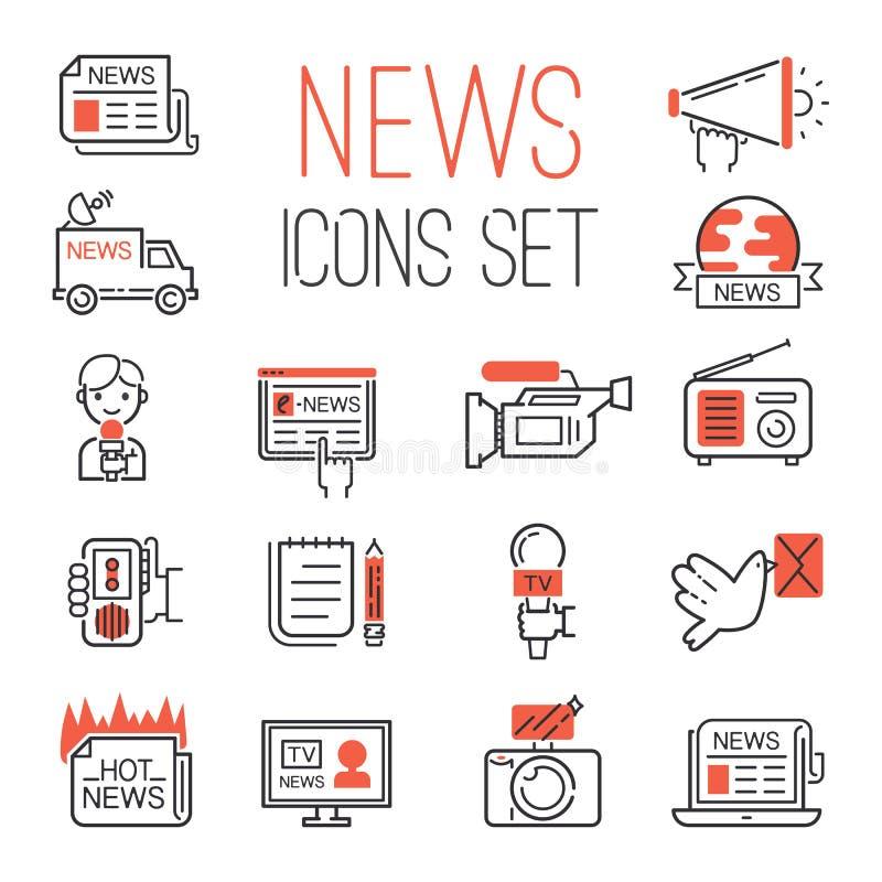 Les icônes rouges en ligne chaudes de l'information de communication et de causerie de noir d'ensemble d'actualités du media TV d illustration stock