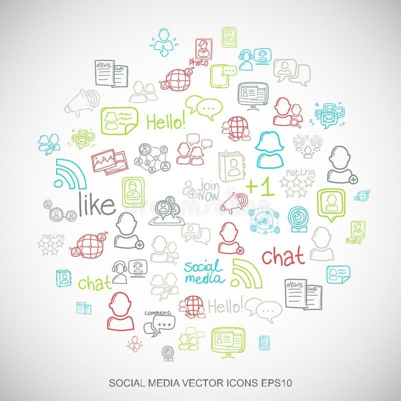 Les icônes sociales tirées par la main de réseau de griffonnages multicolores sociaux de media ont placé sur le blanc Illustratio illustration de vecteur