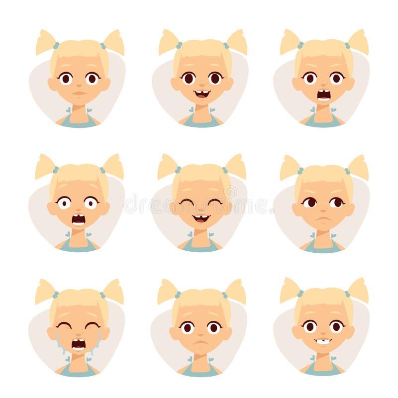 Les icônes souriantes ont placé des filles mignonnes avec l'illustration différente de vecteur d'émotions illustration de vecteur
