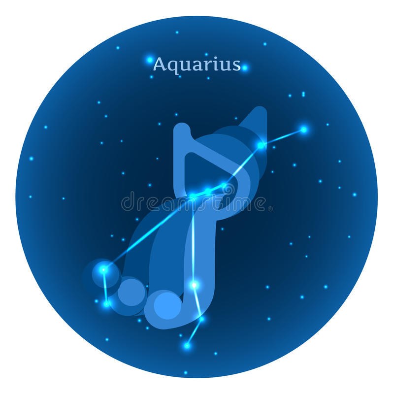 Les icônes stylisées du zodiaque signe dedans le ciel nocturne avec la constellation lumineuse d'étoiles dans l'avant illustration de vecteur