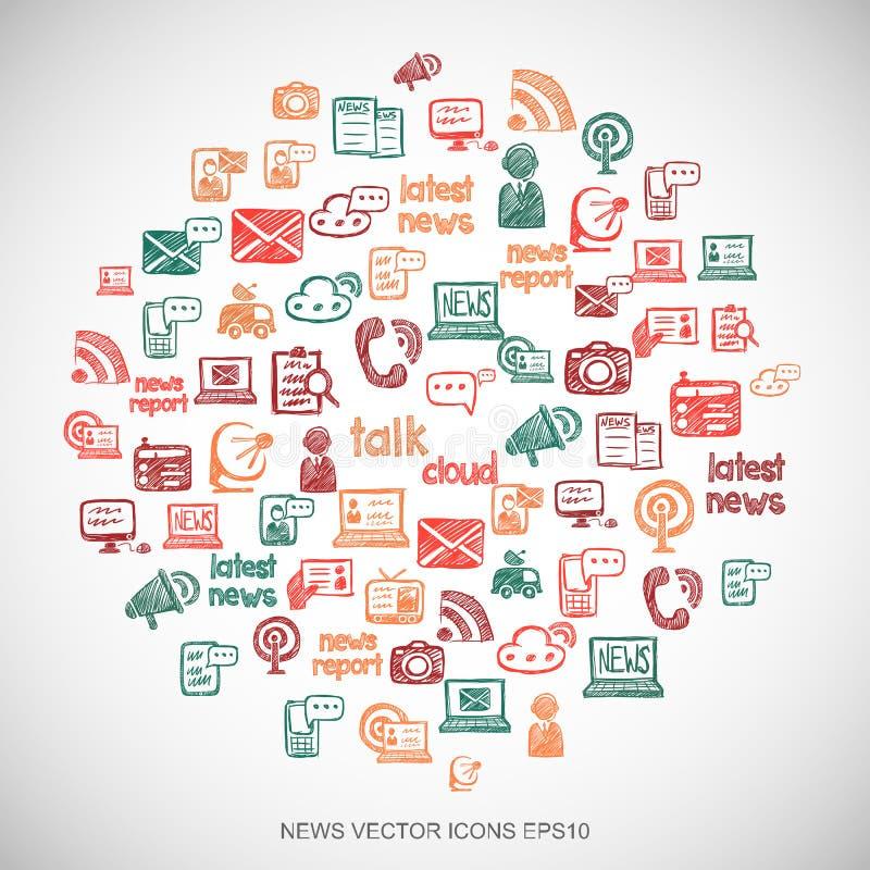 Les icônes tirées par la main d'actualités de griffonnages multicolores d'actualités ont placé sur le blanc Illustration du vecte illustration libre de droits