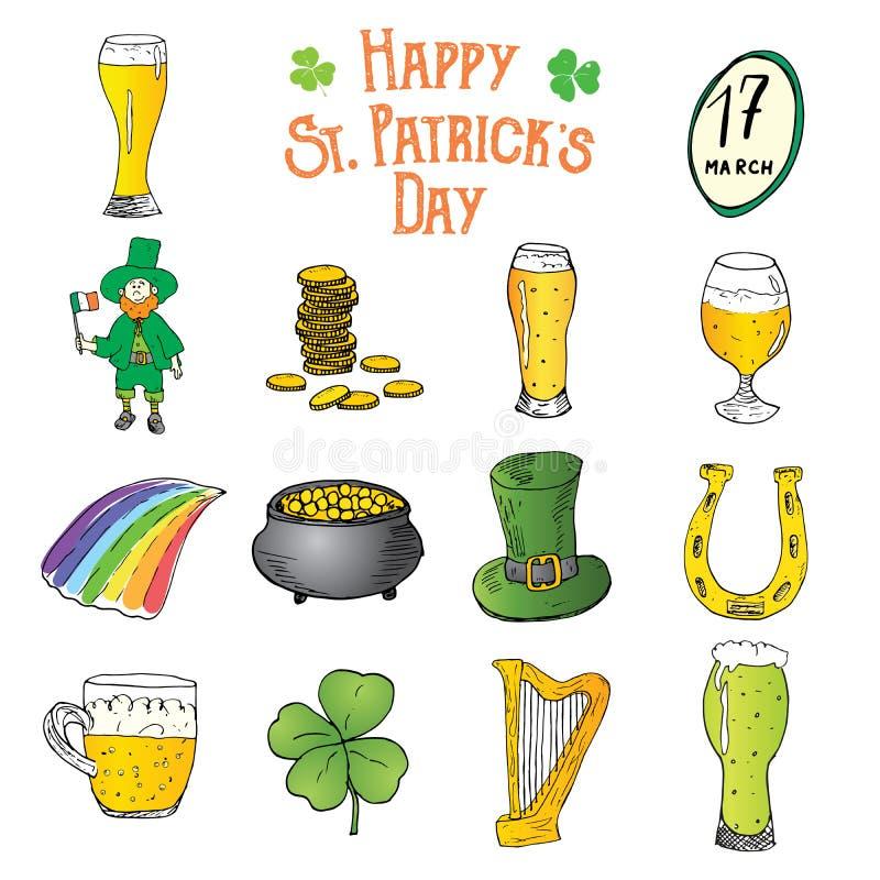 Les icônes tirées par la main de griffonnage de jour de St Patricks ont placé, avec le lutin, le pot de pièces d'or, arc-en-ciel, illustration stock