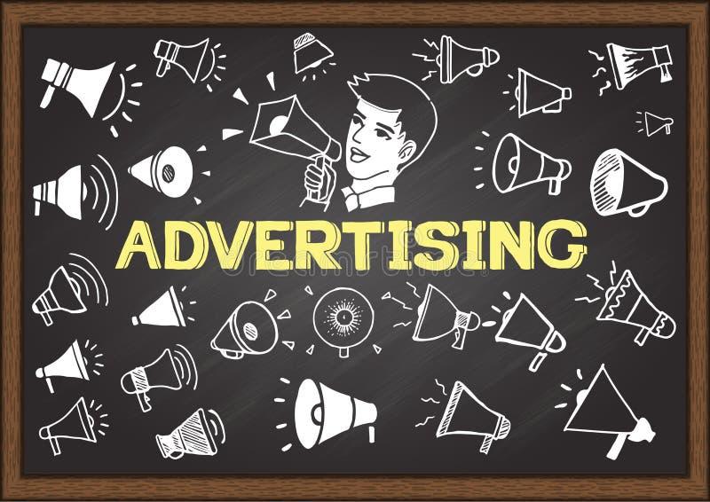 Les icônes tirées par la main de mégaphone sur le tableau avec la publicité de mot et un homme annonce illustration stock