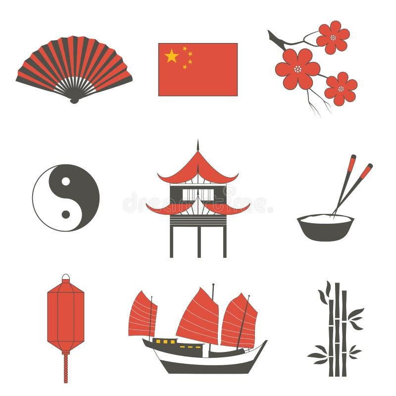 Les icônes traditionnelles asiatiques de symboles de culture de voyage de la Chine réglées ont isolé l'illustration 2 de vecteur photo stock