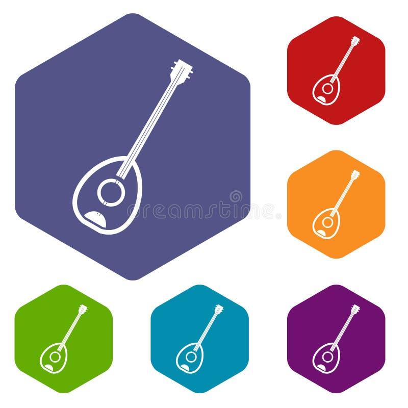 Les icônes turques d'instrument de musique de Saz ont placé l'hexagone illustration stock