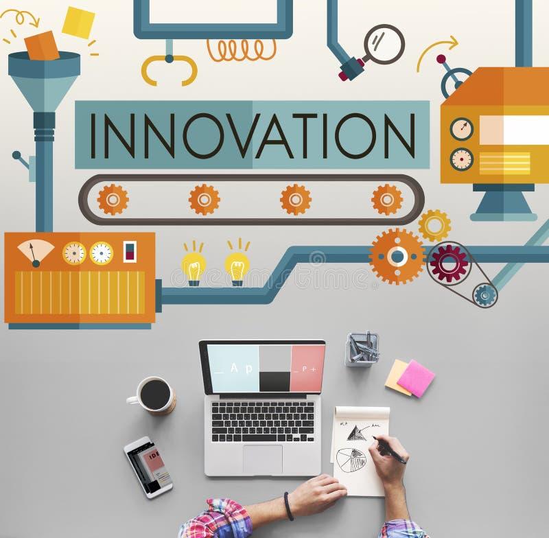 Les idées d'innovation imaginent le concept de système de traitement illustration de vecteur