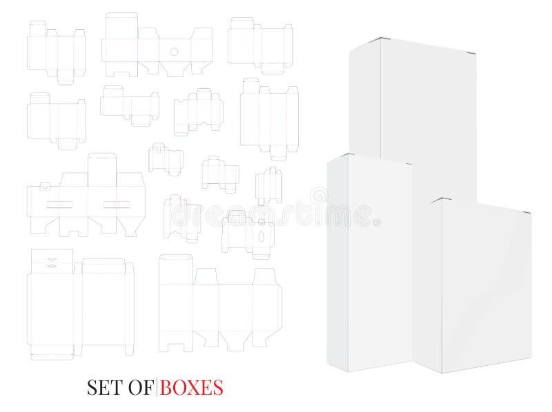 Les illustrations de boîte, vecteur avec découpé/laser avec des matrices ont coupé des couches Placez avec différentes conception illustration stock