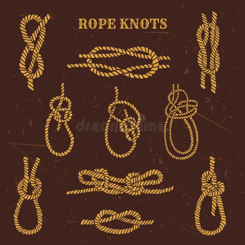 Les illustrations de vintage de la corde nautique noue la collection illustration libre de droits
