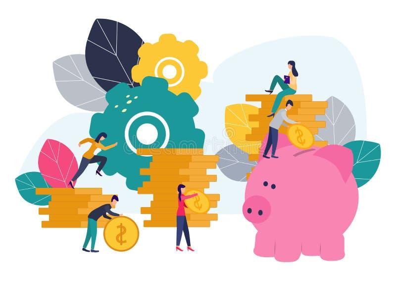 Les illustrations plates de vecteur, grande tirelire sur le fond blanc, services financiers, banquiers font l'argent de travail,  illustration libre de droits