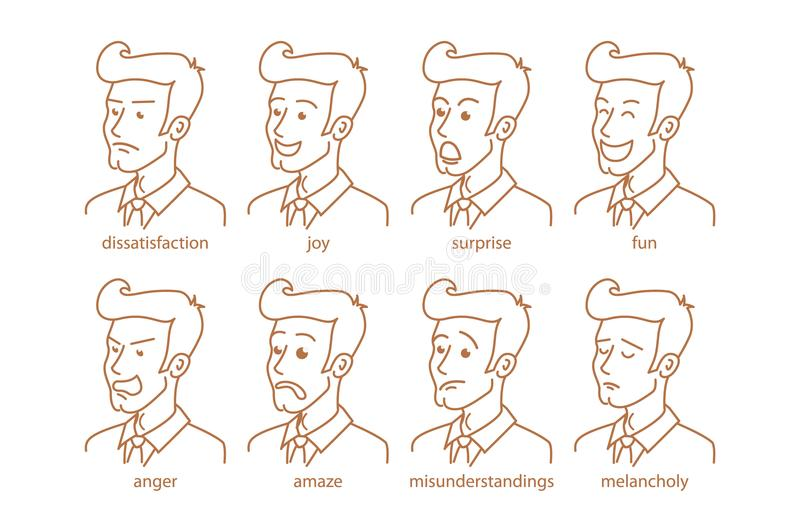 Les illustrations tirées par la main de conception de griffonnage de vecteur de style rayent dans le style de bande dessinée Ense illustration stock