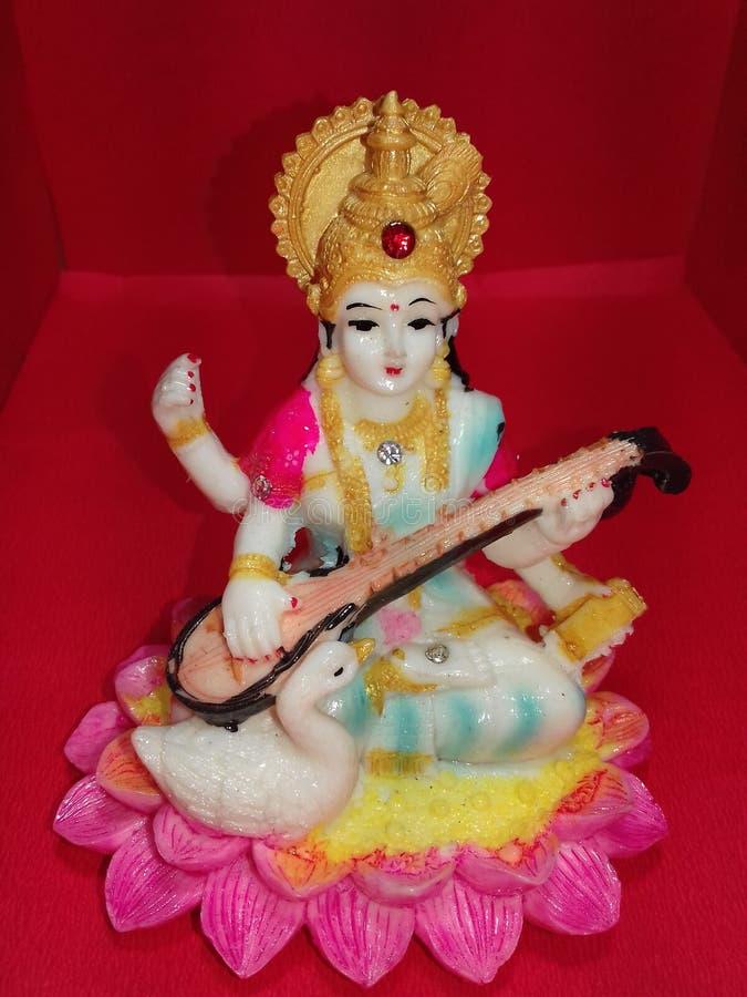 Les images indiennes d'images de photos de papier peint de Dieu de devi gyan de ki de Sarasvati mata sélectionnent la PIC photographie stock libre de droits