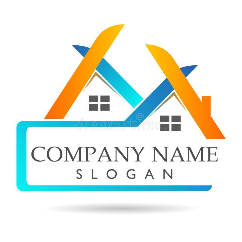 Les immobiliers et le logo à la maison, élément d'icône de logo de concept de société se connectent le fond blanc Business illustration de vecteur
