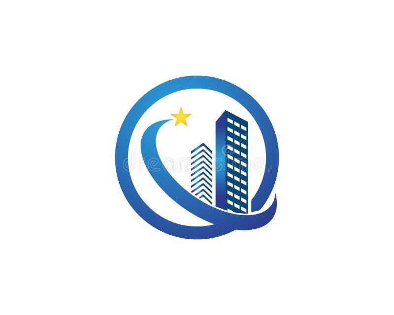 Les immobiliers et le logo à la maison de bâtiment dirigent le calibre illustration libre de droits