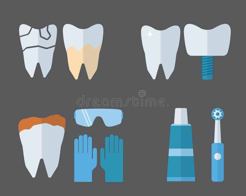 Les implants de dent de dentiste et l'équipement de stomatologie dirigent l'illustration illustration stock