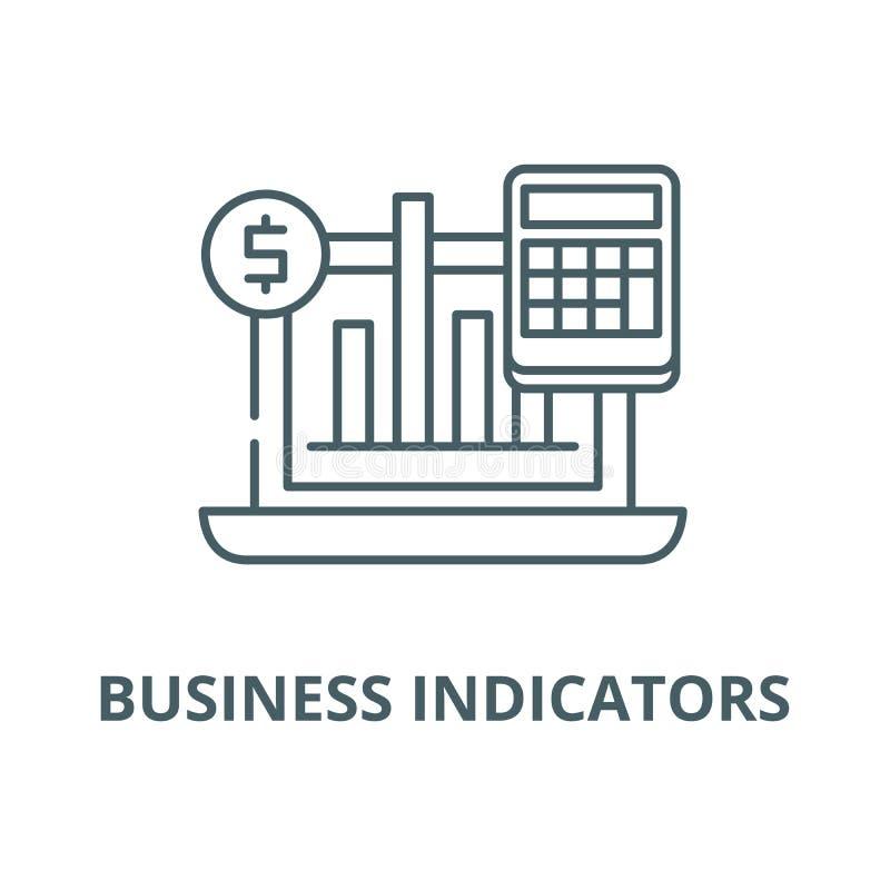 Les indicateurs d'affaires dirigent la ligne icône, concept linéaire, signe d'ensemble, symbole illustration stock
