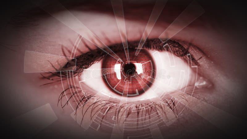 Les informations numériques de visionnement d'oeil photo stock