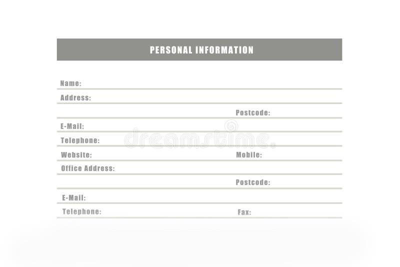 Les informations personnelles illustration de vecteur