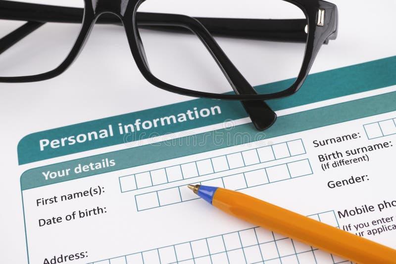 Les informations personnelles images libres de droits