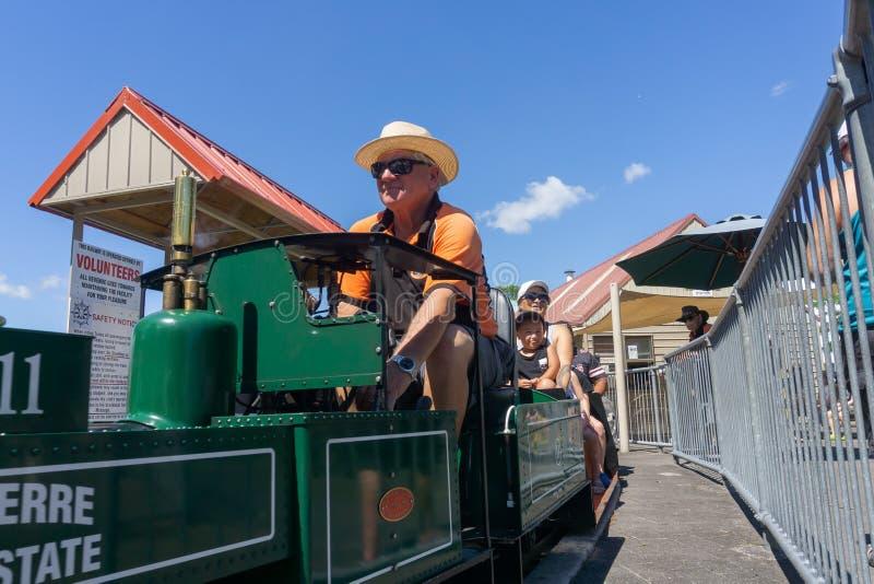 Les ingénieurs ferroviaires modèles d'enthousiaste préparent le train miniature de cru donnant des tours images libres de droits